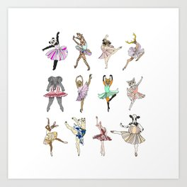 Animal Square Dance Art Print