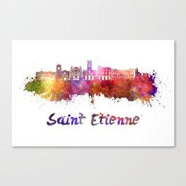 Saint Etienne skyline in watercolor Canvas Print
