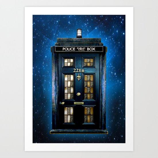 Tardis doctor who Mashup with sherlock holmes 221b door Art Print