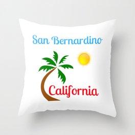 San Bernardino California Palm Tree and Sun Throw Pillow