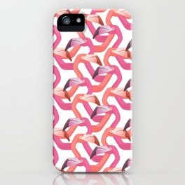 Woven flamingoes on white iPhone Case