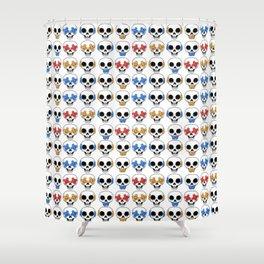 Cute Skulls No Evil II Pattern Shower Curtain