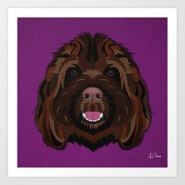 Icons of the Dog Park Labradoodle Design in Bold Colors for Pet Lovers Art Print