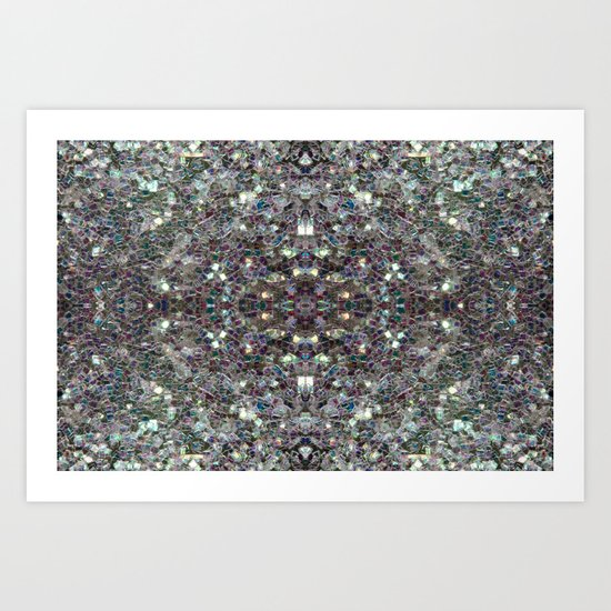 Sparkly colourful silver mosaic mandala Art Print