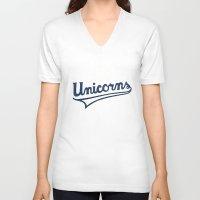 unicorns V-neck T-shirts featuring Unicorns by WEAREYAWN