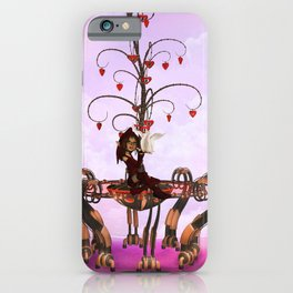 Little fairy with valentine tree with hearts iPhone Case
