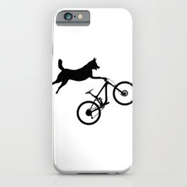 funny MTB mountain bike cycling dog lover gift iPhone Case
