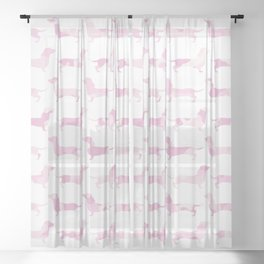 Sausage Dog Army (Pink) Sheer Curtain
