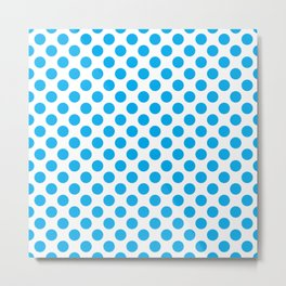 Blue Polka Dots Metal Print