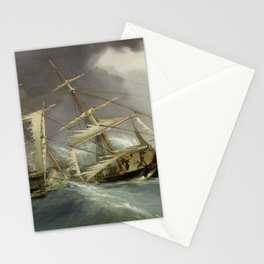 Vintage Destroyed Sailboat During Storm Painting (1859) Stationery Cards