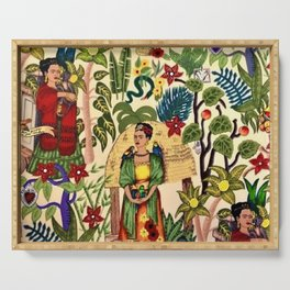 Coyoacán Mexican Garden of Casa Azul Lush Tropical Greenery Floral Landscape Painting Serving Tray