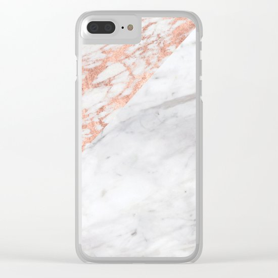 Massarosa Marchionne Bianco rose gold marble Clear iPhone Case