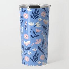 Floral Blue Pattern Travel Mug