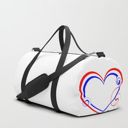 Double heart made of blue lines and red curls in vintage style. Duffle Bag