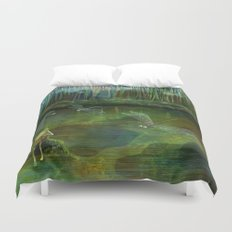 Frog on his Rock Duvet Cover