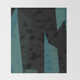 teal and black abstract Throw Blanket