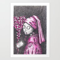 Girl with a pearl earring in 2016 - Anxiety and Gretel Art Print