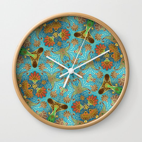Indian Floral Wall Clock