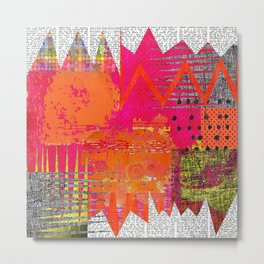 Hot Stuff Abstract Art Collage Metal Print