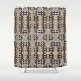 Khaki Beige Dark Brown Mosaic Pattern Shower Curtain