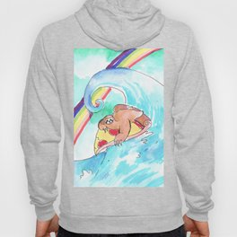 surfing sloth pizza rainbow Hoody