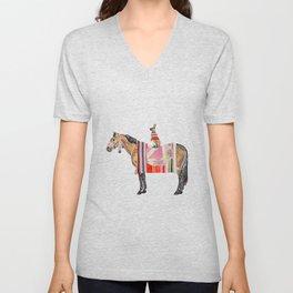 Horse with hare  Unisex V-Neck