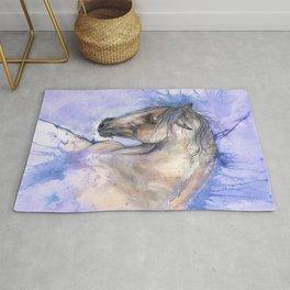 Horse on purple background Rug