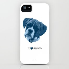 I love my dog - Boxer, blue iPhone Case