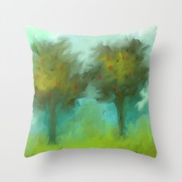 Two Apple Trees Throw Pillow
