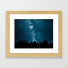 Blue Milky Way At Night Pine Tree Silhouette Stars Night Time Framed Art Print