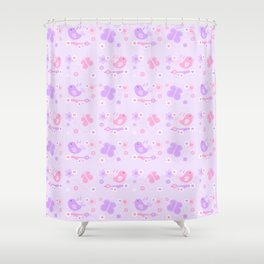 Chickadee Bird Butterfly Floral Purple Lavender Pink Shower Curtain