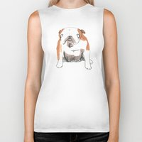 bulldog Biker Tanks featuring Bulldog by jo clark