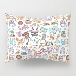 Winter Animals with Scarves Doodle Pillow Sham