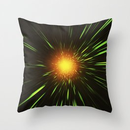 Glowing gold-red shpere with rays of light Throw Pillow