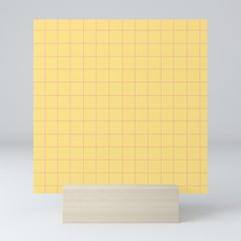 Yellow with Pink Lines Mini Art Print
