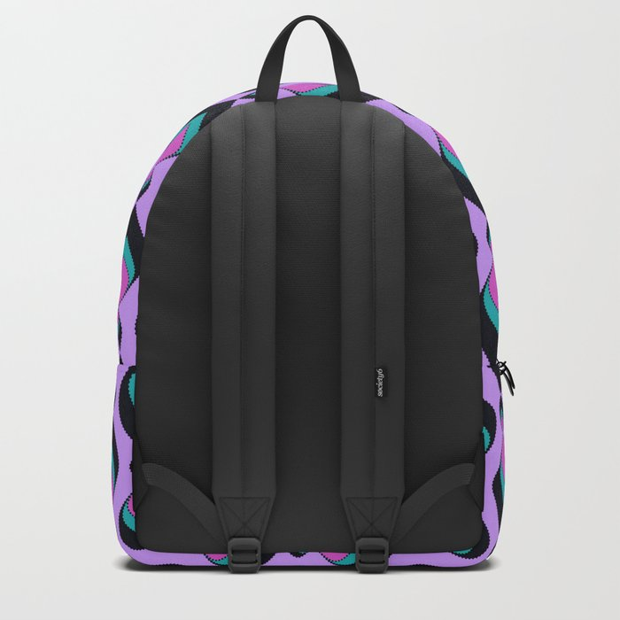 Pattern retro in pink , turquoise raspberry tones . Backpack