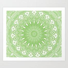Light Lime Green Mandala Simple Minimal Minimalistic Art Print