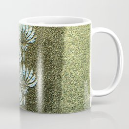 Melded Gold, geometric art-deco, with white flowers pattern, Coffee Mug