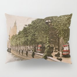 Vintage The Embankment, River Thames, London Pillow Sham