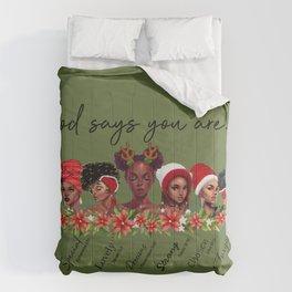 God Says African American Women Scripture Christian Christmas Green Comforters