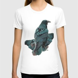 THREE CROWS/RAVENS  SOCIALIZING FROM SOCIETY6 T-shirt