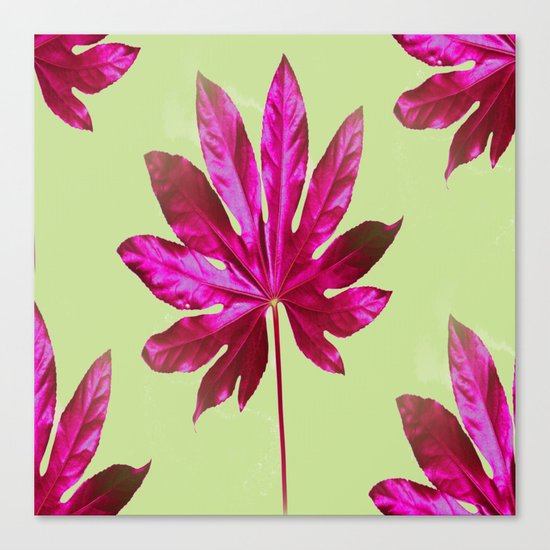 Large pink leaf on a olive green background - beautiful colors Canvas Print