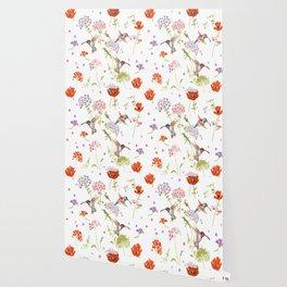 Hummingbird floral Wallpaper