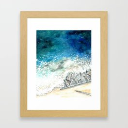 knitted frothy lace seascape Framed Art Print