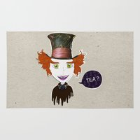 mad hatter Area & Throw Rugs featuring Mad Hatter by Lourenço Santos