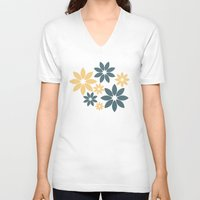 flora V-neck T-shirts featuring Flora by Julia Paige Designs