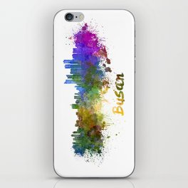 Busan skyline in watercolor iPhone Skin
