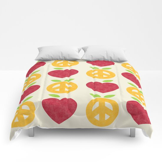 Apple and Orange - Love and Peace Comforters