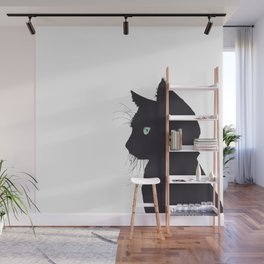 Cat silhouette with green eye Wall Mural