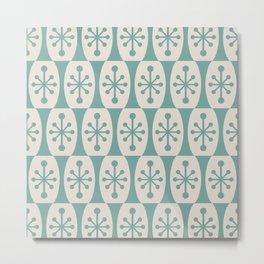 Mid Century Modern Atomic Fusion Pattern 335 Foam Green and Beige Metal Print